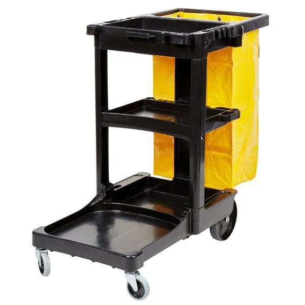 Rubbermaid FG617388BLA Shelf Janitor Cart with Vinyl Zippered Bag