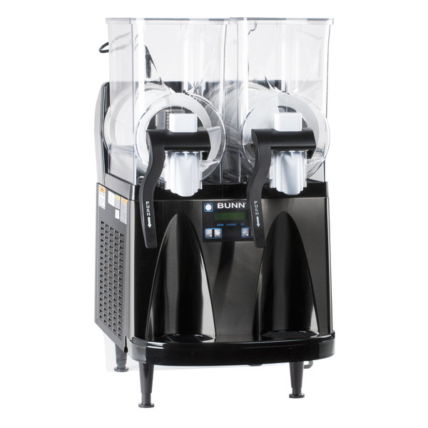 Bunn 34000.0013 Ultra-2 HP High Performance Black Double 3 Gallon Pourover Slushy / Granita Frozen Drink Machine with Flat Lid - 120V