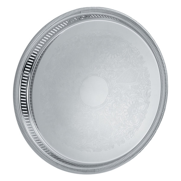 "Vollrath 82375 Elegant Reflections 15 1/4"" x 1 1/2"" Silver Plated Stainless Steel Round Catering Tray"
