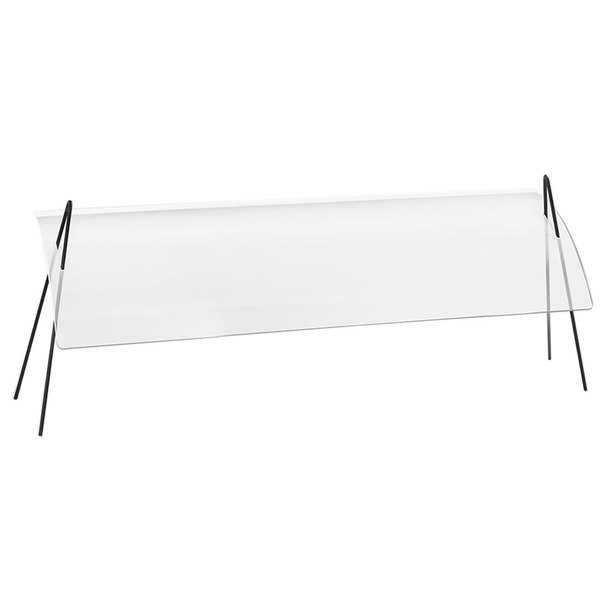 """Cal-Mil 1458-72 72"""" Acrylic Rectangular Sneeze Guard with Black Iron Wire Frame"""