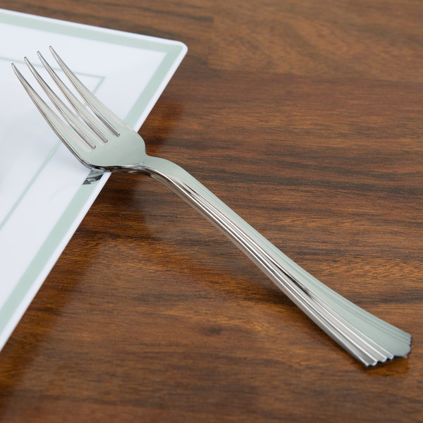 "WNA Comet 610155 Reflections 7"" Stainless Steel Look Heavy Weight Plastic Fork - 600/Case"