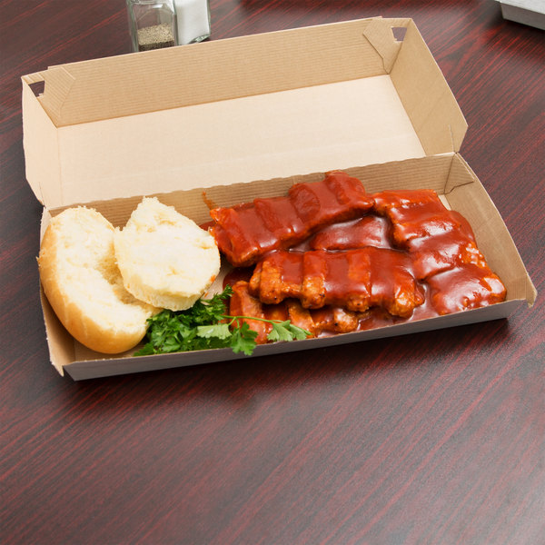 "LBP 55800 11 13/16"" x 5 3/4"" x 2 1/2"" Corrugated Clamshell Rib Dinner Take-Out Box - 140/Case"