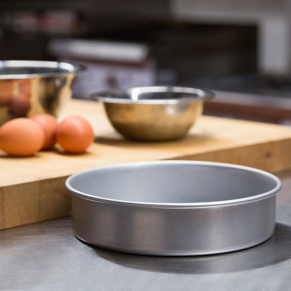 "8"" x 2"" Round Glazed Aluminized Steel Straight Sided Cake / Deep Dish Pizza Pan Main Image 4"