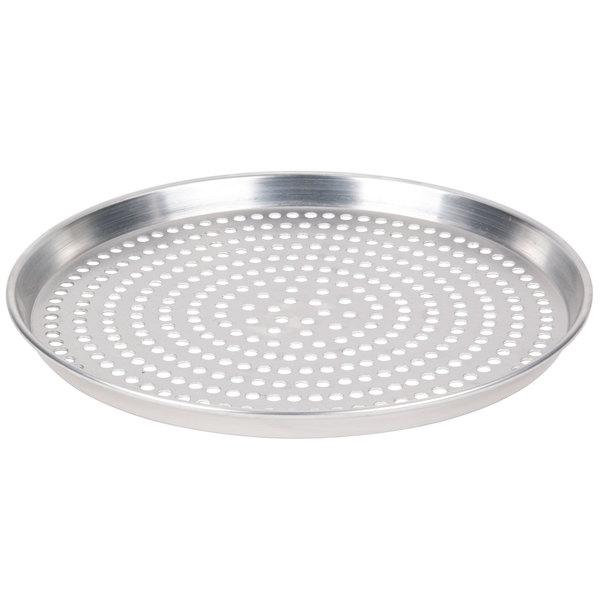 "American Metalcraft SPHADEP11 11"" x 1"" Super Perforated Heavy Weight Aluminum Tapered / Nesting Deep Dish Pizza Pan"