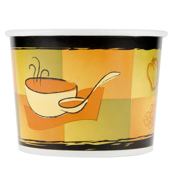 Huhtamaki Chinet 60464 64 oz. Streetside Print Double-Wall Poly Paper Soup / Hot Food Cup  - 250/Case