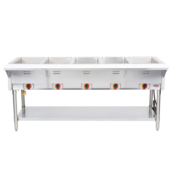APW Wyott SST5S Stationary Steam Table - Five Pan - Sealed Well, 208V Main Image 1