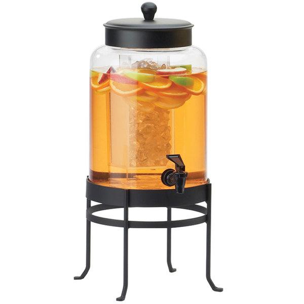 "Cal-Mil 1580-2-13 2 Gallon Black Soho Glass Beverage Dispenser with Ice Chamber - 10"" x 12"" x 20 1/2"""