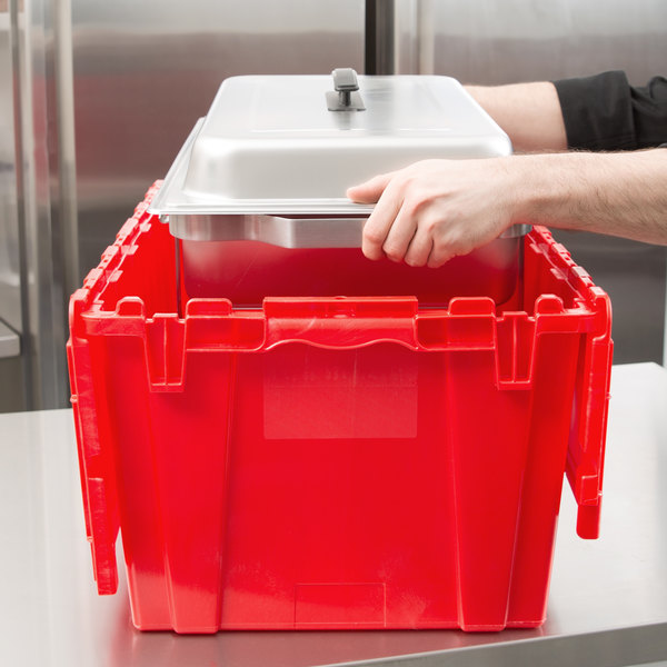 "Vollrath 52645 Tote 'N Store 23 5/8"" x 13 7/8"" x 11 5/8"" Red Chafer Box Main Image 3"