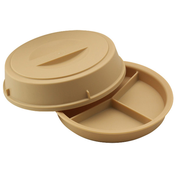 Cambro HK93CW133 Beige Camwear Heat Keeper 3 Compartment Base and Cover - 6/Case
