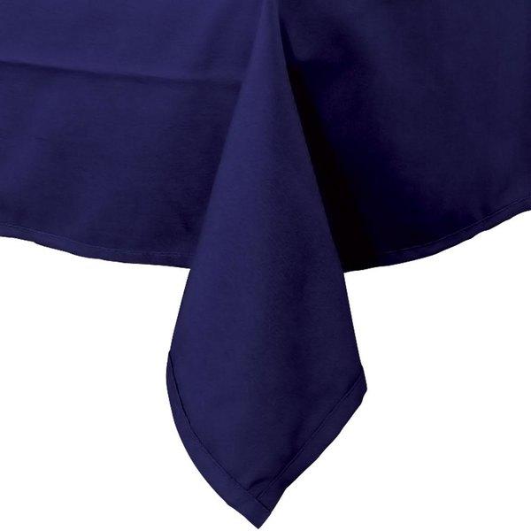 54 inch x 114 inch Navy Blue Hemmed Polyspun Cloth Table Cover