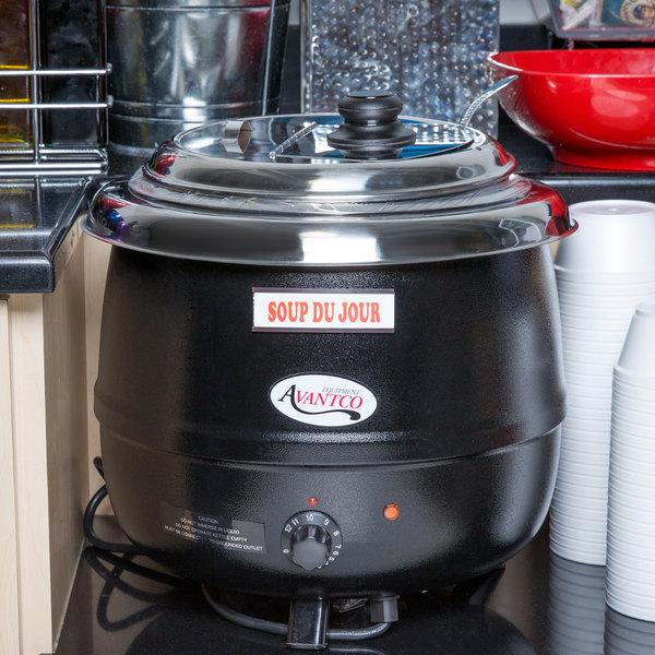 Avantco S600 14 Qt. Round Countertop Black Food / Soup Kettle Warmer - 110V, 600W