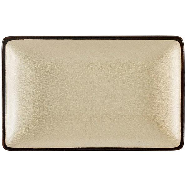 """CAC 666-34-W Japanese Style 8 1/2"""" x 5 1/2"""" Rectangular China Plate - Black Non-Glare Glaze / Creamy White - 24/Case"""