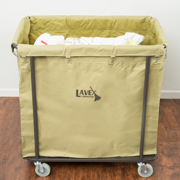 Lavex Lodging Commercial Laundry Cart/Trash Cart, 14 Bushel Metal Frame and Canvas Bag Main Image 4