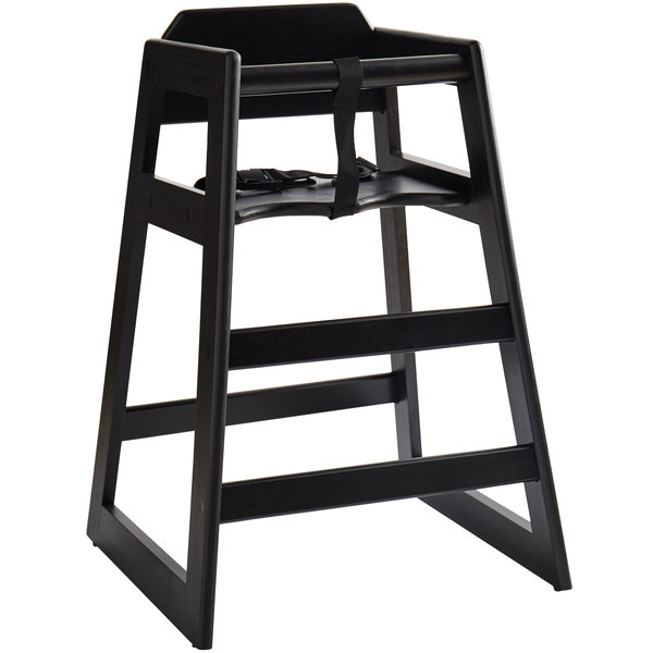 Astounding Lancaster Table Seating Ready To Assemble Stacking Restaurant Wood High Chair With Black Finish Short Links Chair Design For Home Short Linksinfo