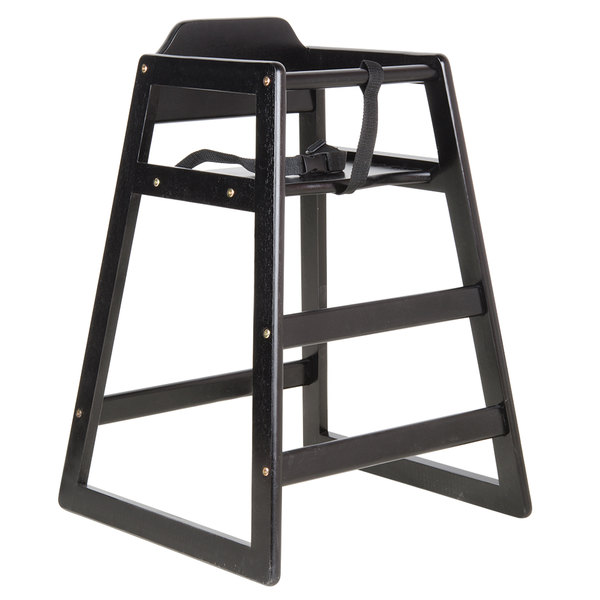 Lancaster Table & Seating Ready-to-Assemble Stacking Restaurant Wood High Chair with Black Finish