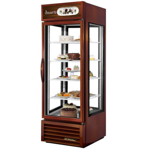 True G4SM-23-LD Bronze Four Sided Glass Door Refrigerator Merchandiser with Front Sign