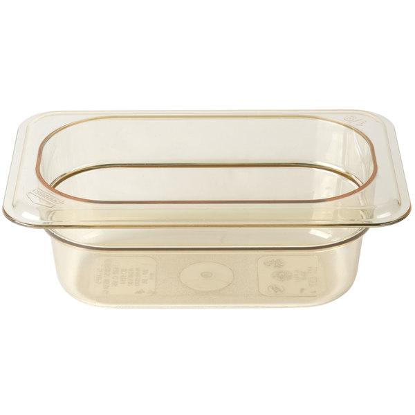 """Cambro 92HP150 H-Pan 1/9 Size Amber High Heat Food Pan - 2 1/2"""" Deep"""