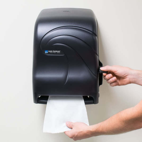San Jamar T1190TBK Oceans Lever Roll Towel Dispenser - Black Pearl