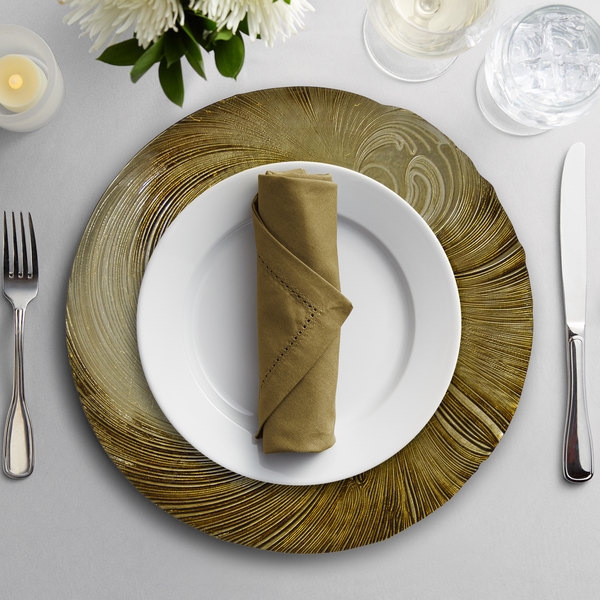 """10 Strawberry Street CYC-340BEI-GOLD 13 1/4"""" Cyclone Beige/Gold Glass Charger Plate"""