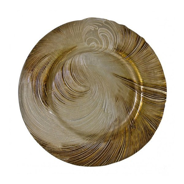 """10 Strawberry Street CYC-340-BEI-GOLD 13 1/4"""" Cyclone Beige/Gold Glass Charger Plate"""