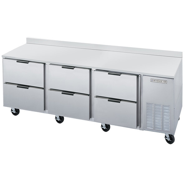 """Beverage-Air WTRD93A-6 93"""" Compact Worktop Refrigerator with Six Drawers Main Image 1"""