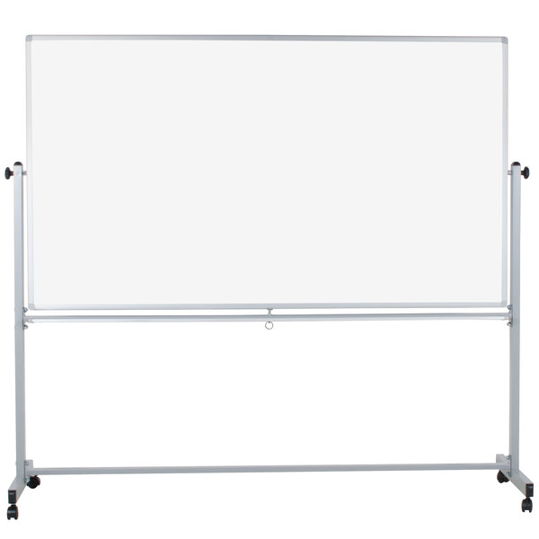 luxor mb7240ww 72 x 40 double sided whiteboard with aluminum frame