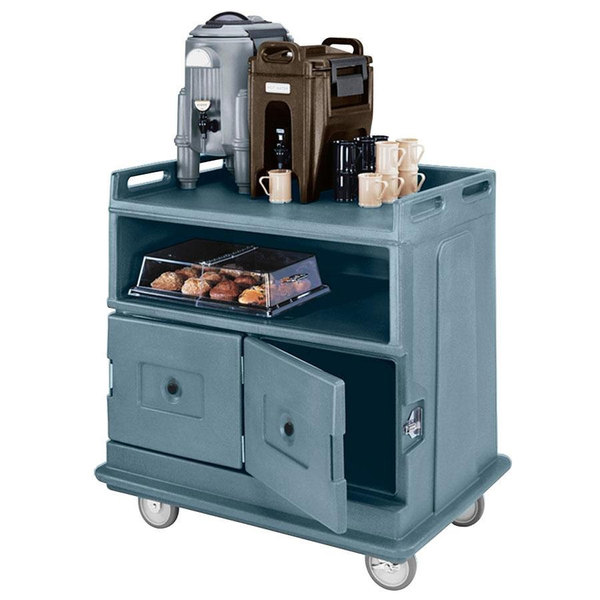 """Cambro MDC24F401 Slate Blue Beverage Service Cart with 2 Doors - 44 1/2"""" x 30"""" x 44"""""""