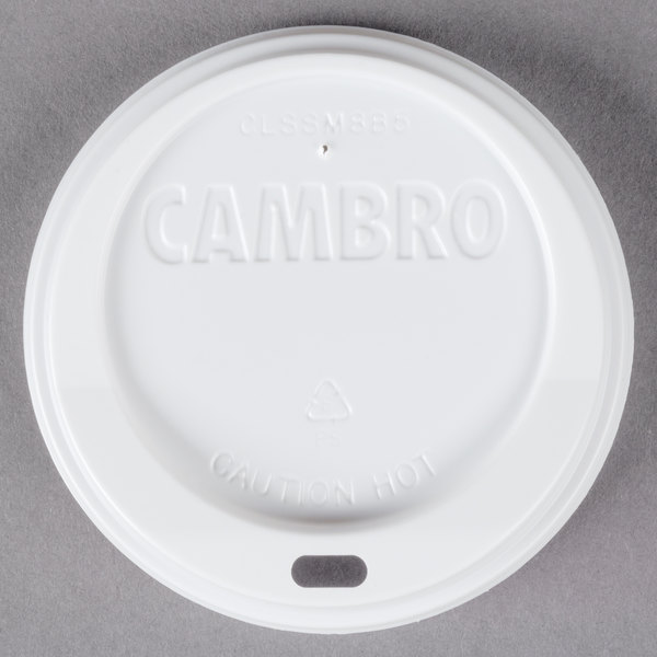 Cambro CLSSM8B5148 Disposable White Sip Through Lid fits Cambro MDSB5 5 oz. Insulated Bowl and Cambro MDSM8 8 oz. Insulated Mug for Shoreline Meal Delivery Systems - 1000/Case Main Image 1