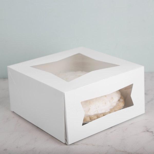 "Southern Champion 24053 8"" x 8"" x 4"" White Window Cake / Bakery Box - 150/Bundle"
