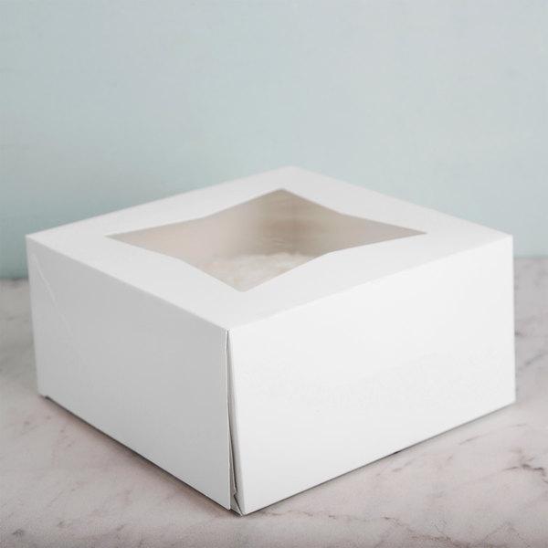 "8"" x 8"" x 4"" White Auto-Popup Window Cake / Bakery Box - 150/Bundle Main Image 4"