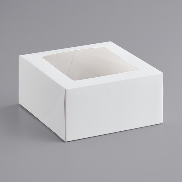 "8"" x 8"" x 4"" White Auto-Popup Window Cake / Bakery Box - 150/Bundle Main Image 1"