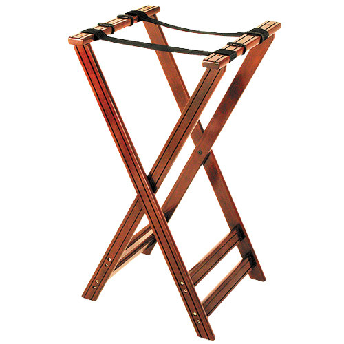 38 inch Wood Tray Stand - Walnut Finish
