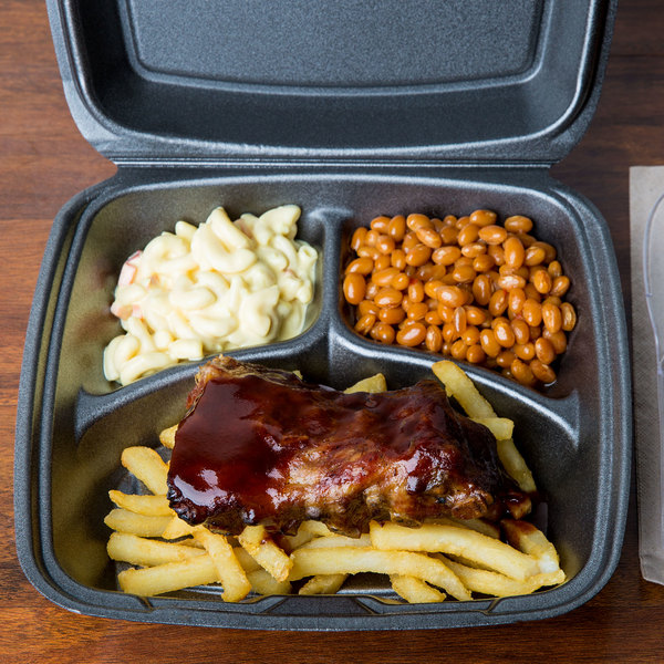 """Dart 90HTB3R 9"""" x 9"""" x 3"""" Black Foam Three-Compartment Square Take Out Container with Hinged Lid - 200/Case"""