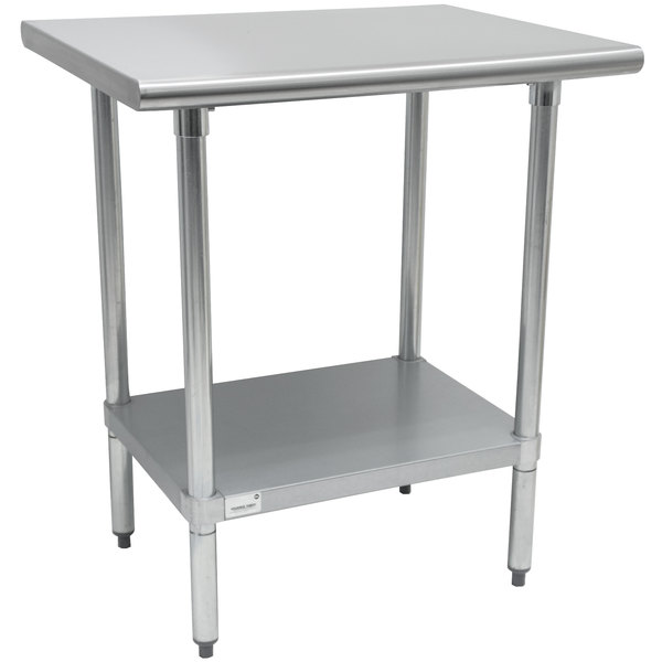 """Advance Tabco AG-243 24"""" x 36"""" 16 Gauge Stainless Steel Work Table with Galvanized Undershelf"""