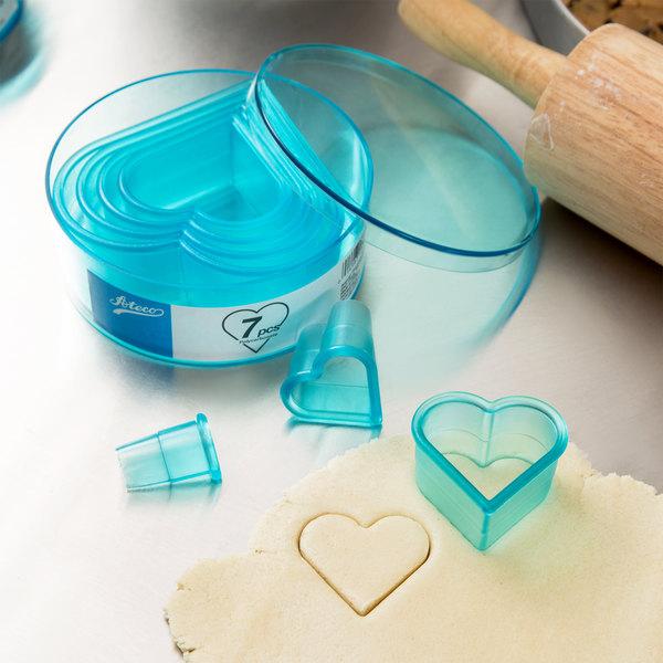 Ateco 5751 7-Piece Polycarbonate Plain Heart Cutter Set