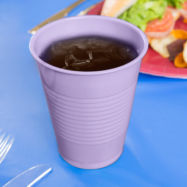 Creative Converting 28193081 16 oz. Luscious Lavender Purple Plastic Cup - 240/Case Main Image 3