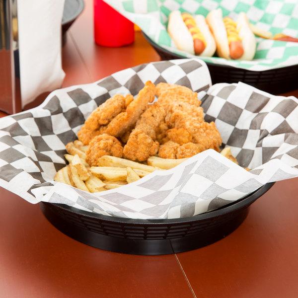 """Tablecraft 157512BK 12"""" Black Plastic Diner Platter / Fast Food Basket with Base - 12/Pack"""