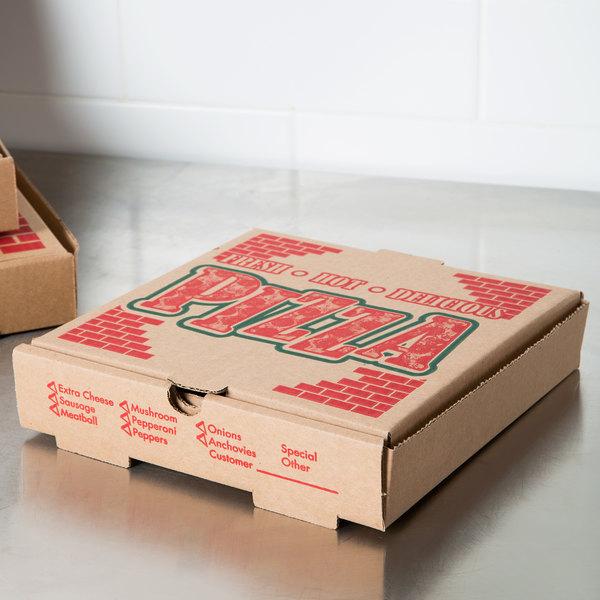 10 X 10 X 1 3 4 Kraft Corrugated Pizza Box 50 Case