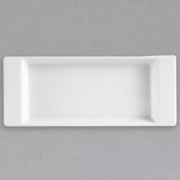 """CAC F-2S Fortune 8 3/4"""" x 3 1/2"""" Rectangular Porcelain Tasting Tray with Handles - White - 24/Case Main Image 1"""