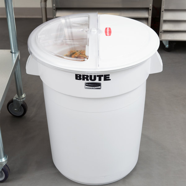 Rubbermaid FG9G7500WHT ProSave Brute 32 Gallon / 510 Cup White Flat Top Ingredient Storage Bin with Sliding Lid & Scoop
