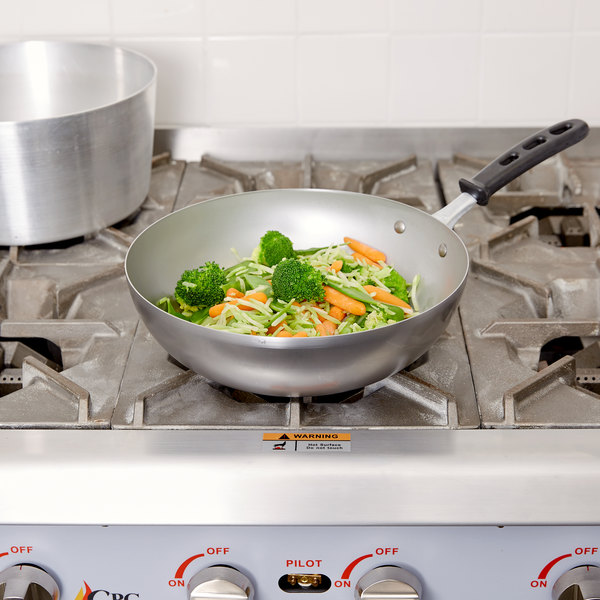"Vollrath 59949 11"" Carbon Steel Stir Fry Pan with TriVent Silicone Handle Main Image 2"