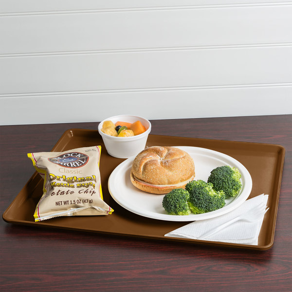 """Cambro 1418D513 14"""" x 18"""" Bayleaf Brown Dietary Tray - 12/Case"""