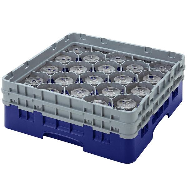 "Cambro 20S434186 Camrack 5 1/4"" High Customizable Navy Blue 20 Compartment Glass Rack"