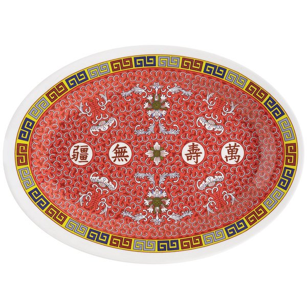 "GET M-4030-L Dynasty Longevity 12 1/4"" x 8 3/4"" Oval Platter - 12/Case"