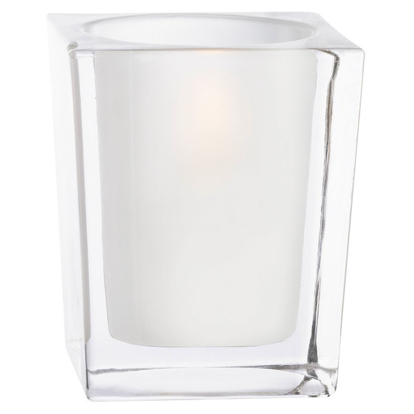 """Sterno Products 80238 3 3/4"""" Frosted Clear Square Liquid Candle Holder"""
