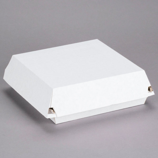 Sabert 55600 9 inch x 9 inch x 3 inch Corrugated Clamshell Dinner Take-Out Box - 100/Case