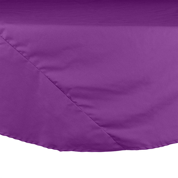 "Intedge 120"" Round Purple Hemmed Polyspun Cloth Table Cover Main Image 1"