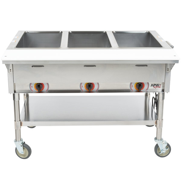 APW Wyott PST-3S Three Pan Exposed Portable Steam Table with Stainless Steel Legs and Undershelf - 1500W - Open Well, 240V Main Image 1