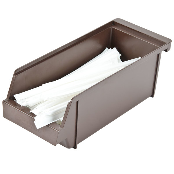 "5"" x 12 1/2"" x 4 1/4"" Self-Serve Brown Condiment Holder Bin"