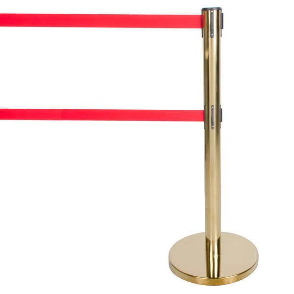 "Aarco HB-27 Brass 40"" Crowd Control / Guidance Stanchion with Dual 84"" Red Retractable Belts"